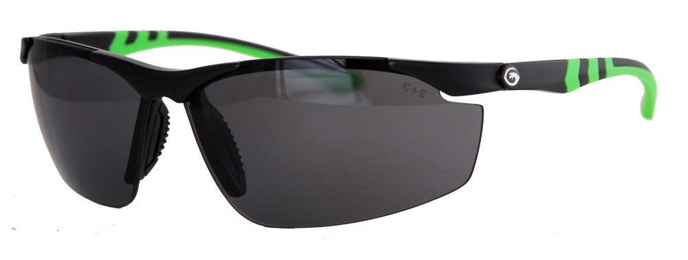 Top-only framed polarized lenses with bright green designs
