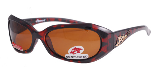 Tort red and brown polarized shades