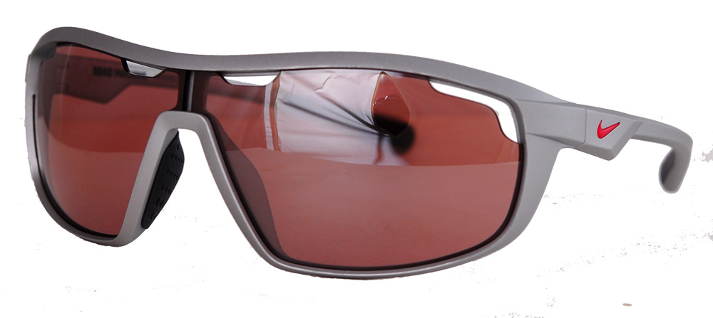 Platinum framed shaded glasses with red lenses