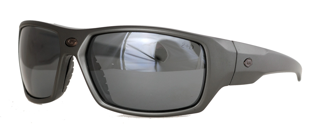 Shades with a thick grey frame and smoky polarized lenses