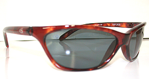 Sunglasses with a light brown frame