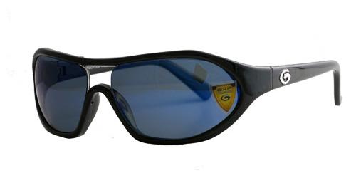 Black round edged frame with gun blue lenses