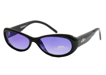 Black round sunglasses with indigo shades