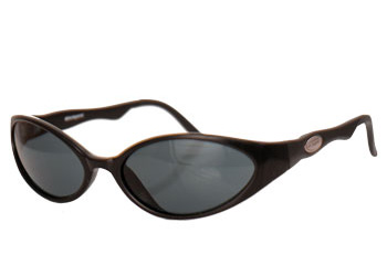 Black framed sunglasses with smoked lenses