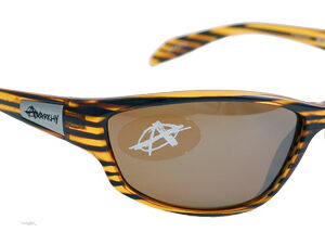 Gold-colored sunglasses with brown polarized lenses
