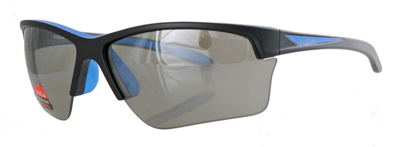 Black and blue sunglasses with grey shades