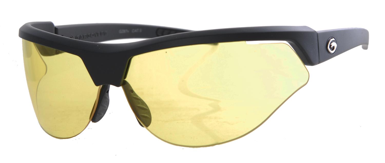 Matt black framed yellow sunglasses