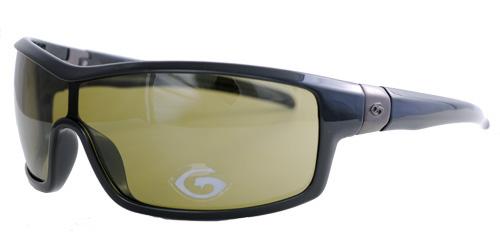 Black framed olive-green lenses