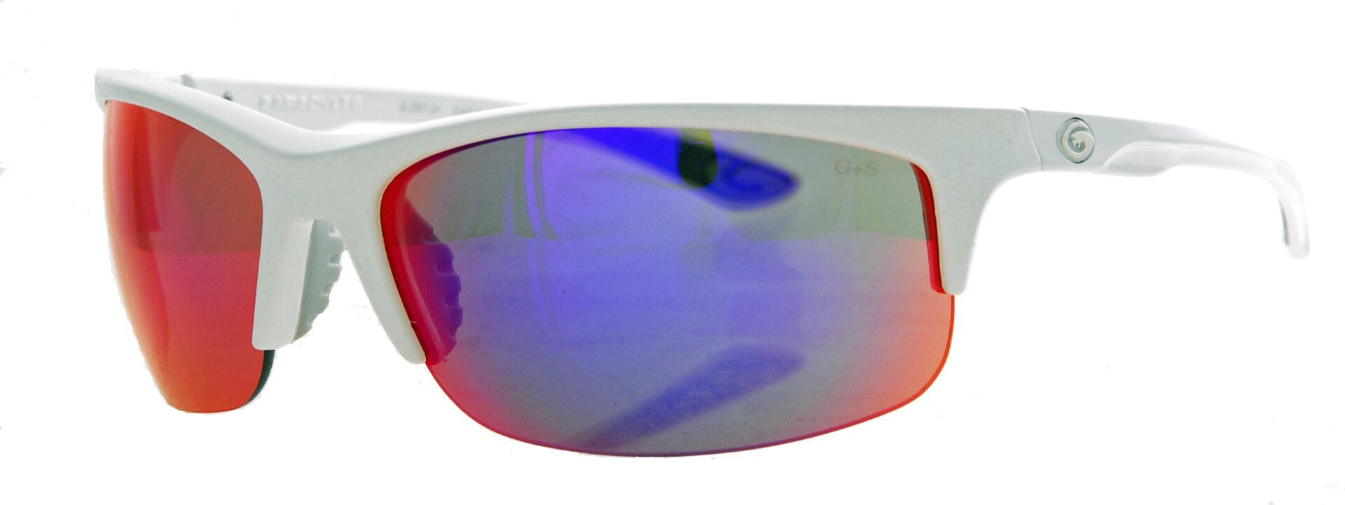 Plasma mirrored smoked shades in a white frame