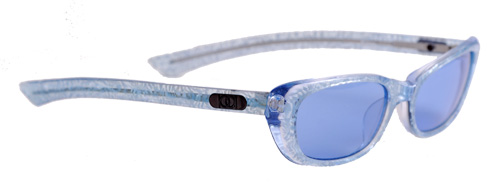 Small blue shaded lenses with translucent blue frames