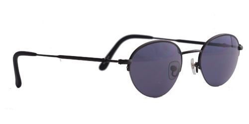 Sunglasses with a thin black frame and dark lenses
