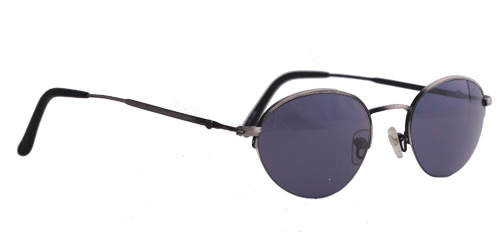 A pair of silver shades with dark purple lenses