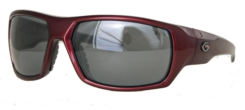Red framed grey polarized shades