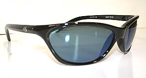 Black framed gun blue lenses