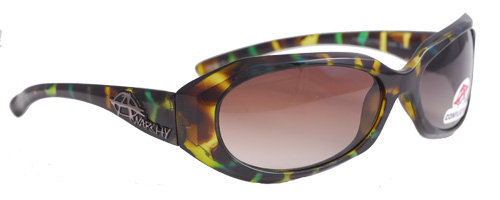 Camo yellow and green shades with gradient brown lenses
