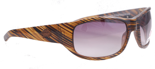 Brown-striped shades with smoky purple gradient lenses
