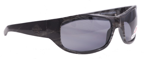 Thick black patterned shades with smoky grey lenses