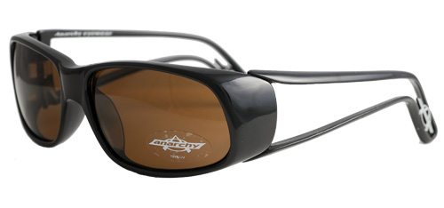 Black-framed sunglasses with brown lens