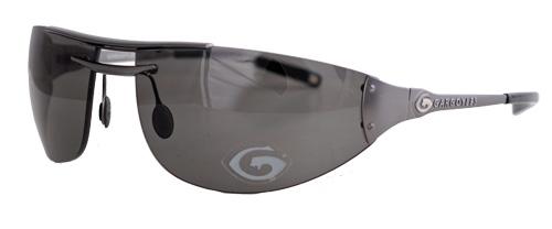 Frameless black smoked sunglasses