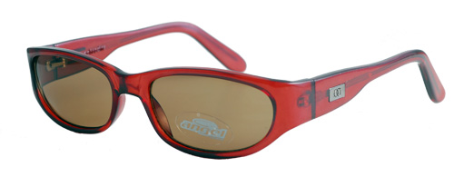 Reddish-brown-framed sunglasses with brown lens