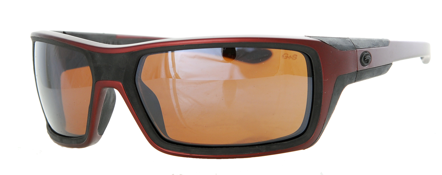 Sunglasses with a dark red frame and orange-brown lens