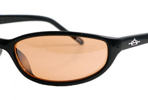 Black-framed sunglasses with red-brown lens